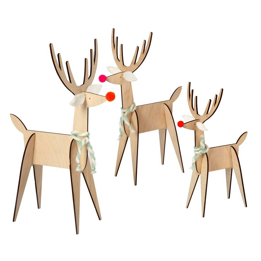 set of three wooden reindeer christmas decorations
