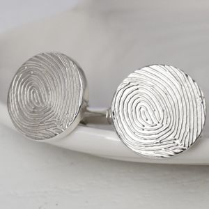 Personalised Ink Fingerprint Silver Cufflinks - personalised gifts for him
