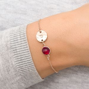 Hammered Initial January Birthstone Bracelet - june birthstone