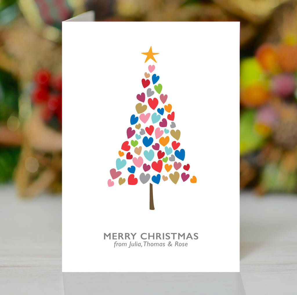 'Christmas Tree Of Hearts' Personalised Xmas Card Pack