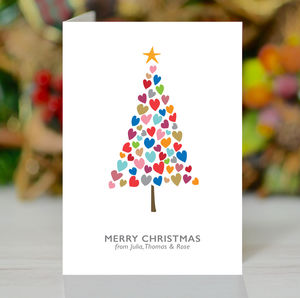 'Christmas Tree Of Hearts' Personalised Xmas Card Pack - christmas cards: packs