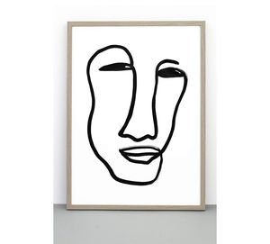 Face Print, Portrait Poster, Line Drawing Wall Art