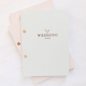 Luxury Wedding Notebook Grey With Rose Gold Foil - writing