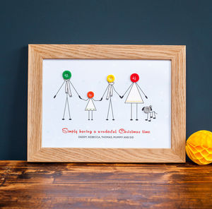 Personalised Button Family Christmas Print - family & home