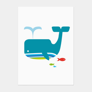 Whale And Fish Postcard