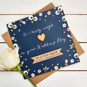 Personalised Wedding Card Navy Floral