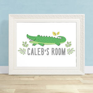 Personalised Crocodile Art Print - children's room