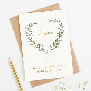 Thank You Maid Of Honour Card Botanical Foil