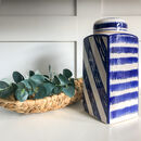 Blue And White Striped Ceramic Ginger Jar