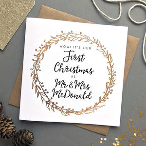 'Our First Married Christmas' Foiled Card
