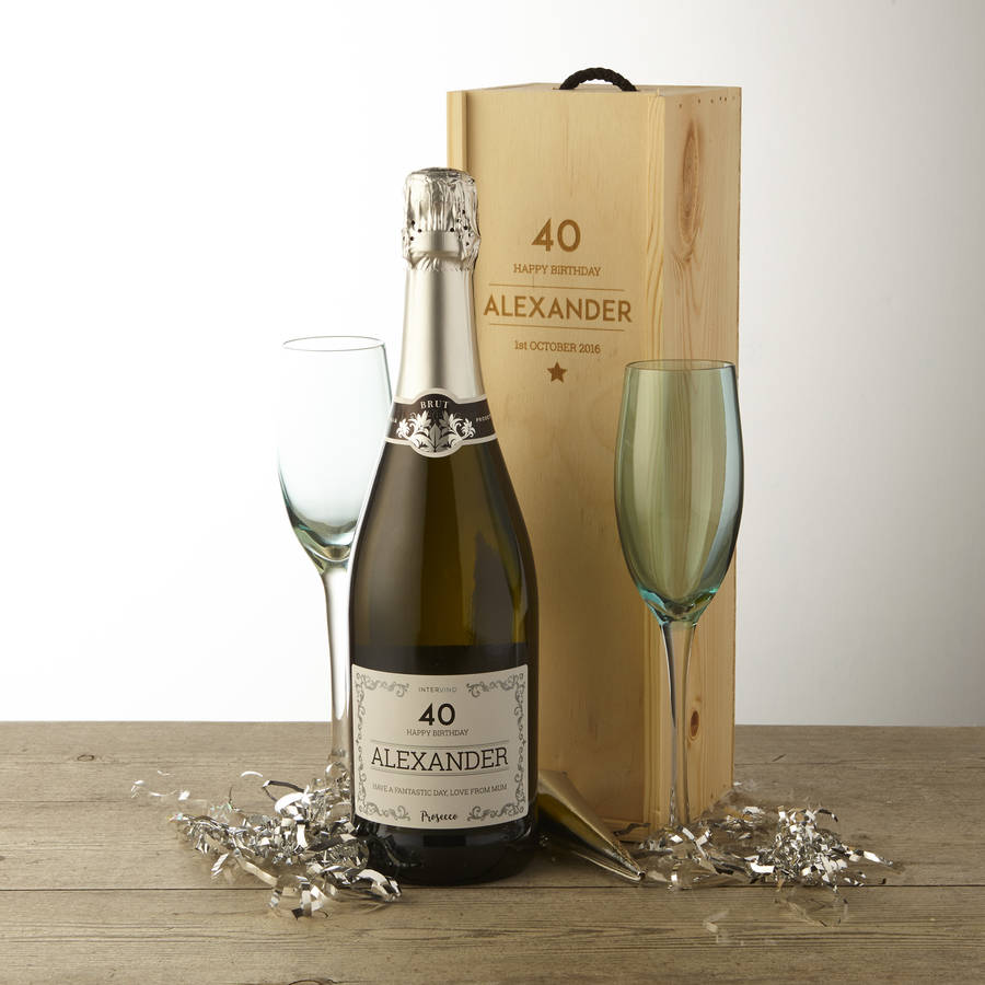 40th Birthday Personalised Prosecco And Wooden Gift Box