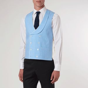 Pale Blue Double Breasted Waistcoat - coats & jackets
