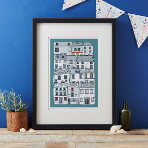 Coastal Cottages Art Print