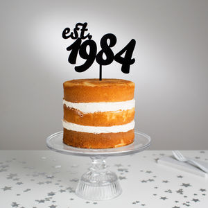 Personalised Retro Year Established Cake Topper