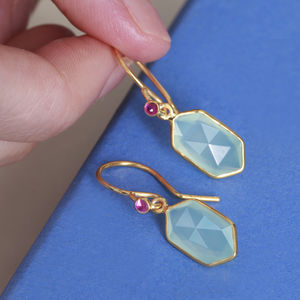 Aqua And Ruby Drop Earrings - gemstone earrings