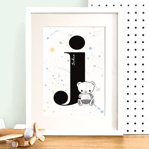 Personalised Children's Initial Letter Foil Print - mixed media & collage