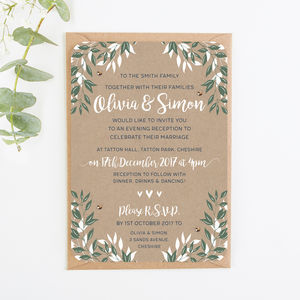 Botanical Kraft Evening Invite With Gems - invitations