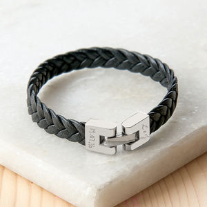 Personalised Leather Braided Engraved Clasp Bracelet