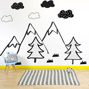 Mono Nordic Mountain Scene Wall Stickers - wall stickers