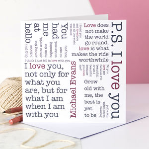 Personalised Valentine Card; Love Quotes