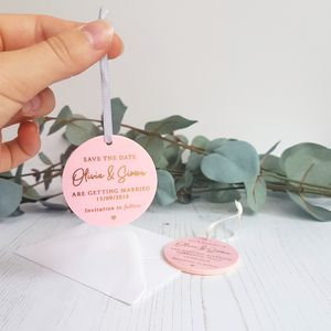 Blush Pink With Gold Foil Perspex Hanging Save The Date - invitations