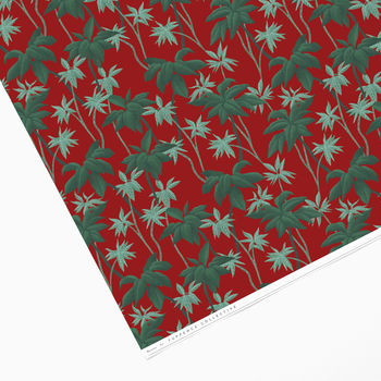 Vintage Red Tropical Palm Tree Wrapping Paper