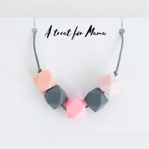 Grey And Pink Teething Necklace