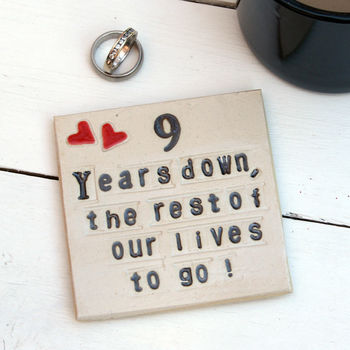 Nine Years Down Ceramic Anniversary Coaster