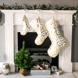 Personalised Christmas Stocking In White And Gold