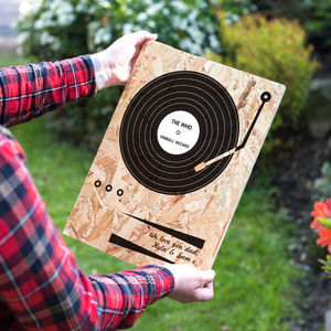 Personalised Record Print On Wood - music
