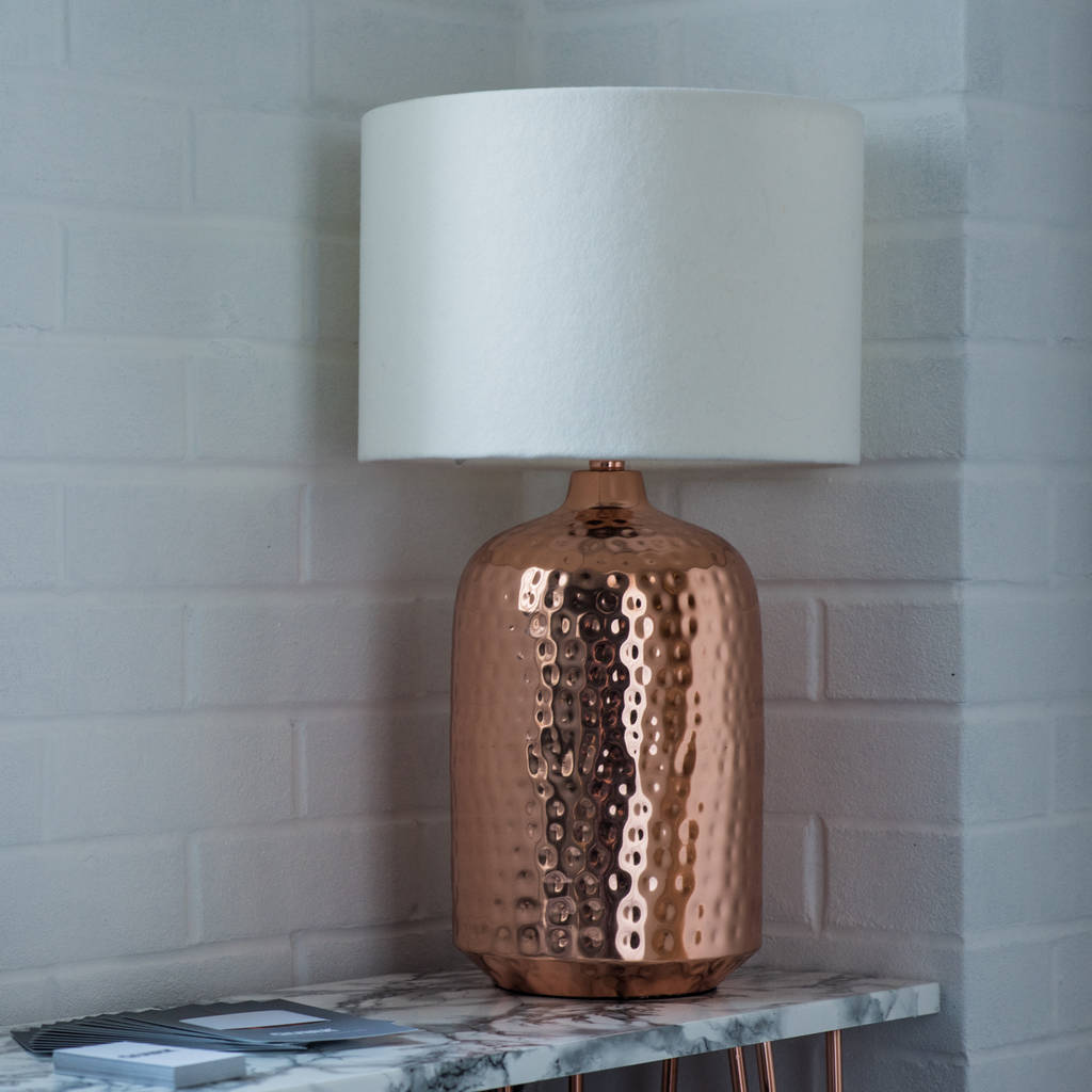 Copper Hammered Pot Table Lamp Base By Quirk