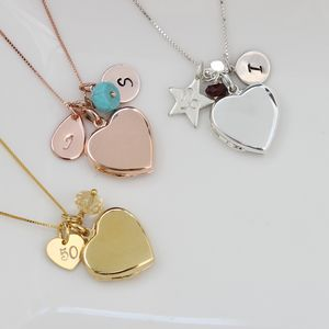 Personalised Heart Locket With Birthstones - necklaces & pendants