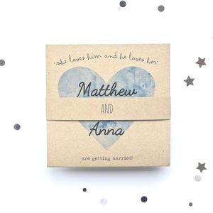 Blue Watercolour Heart Tri Fold Wedding Invitations