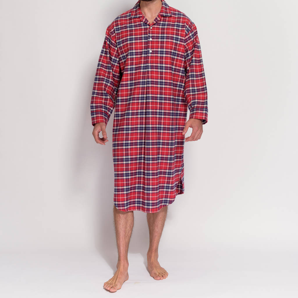 men s red tartan flannel nightshirt by british boxers ... 8fbfd9b90