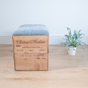 Wine Crate Ottoman Blanket Box With Geometric Fabric - living room
