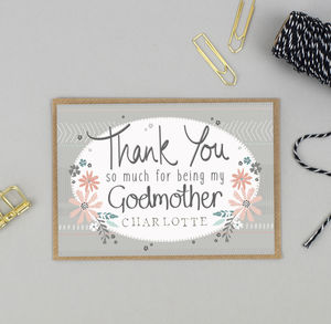 Thank You For Being My Godmother Card Personalised - christening cards