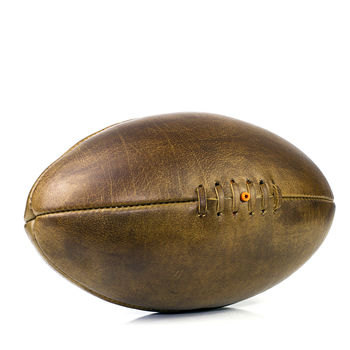 Vintage Leather Rugby Ball Full Size Hand Sewn