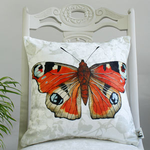 Peacock Butterfly Botanical Floral Print Cushion - cushions
