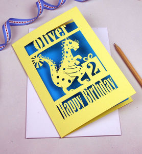 Personalised Papercut Dinosaur Birthday Card - birthday cards