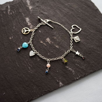 Silver And 9ct Gold Gemstone Charm Bracelet