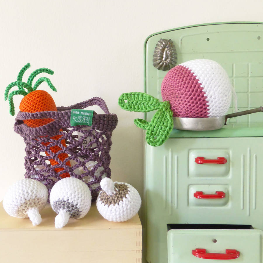 Crocheted Mini Shopping Bag And Vegetables