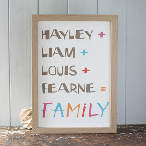 Personalised Family Names Sum Art Print - canvas prints & art