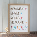 Personalised Family Names Sum Art Print