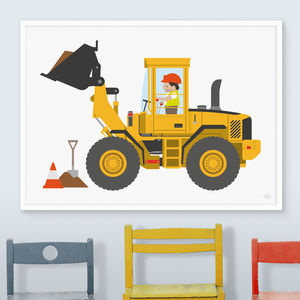 Digger Print - children's pictures & paintings