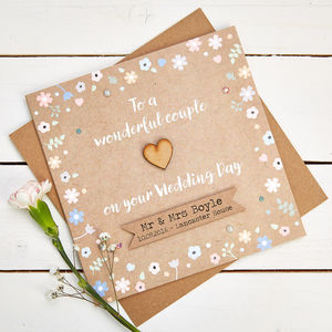 Wedding Day Card Personalised Pastel Floral Kraft - wedding cards