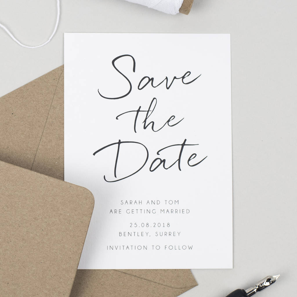 Minimalist Save The Date Card By Pear Paper Co Notonthehighstreet Com