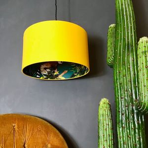 Teal Lemur Wallpaper Lampshade In Egg Yolk Yellow - lampshades