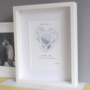 Silver 25 Years Anniversary Personalised Papercut Print - dates & special occasions