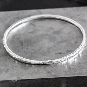 Sterling Silver Chunky Hammered Stacking Bangle