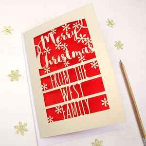 Set Of Six 'Merry Christmas From The …Family' Cards